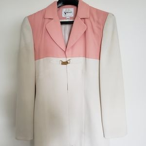 Vintage Pink and Cream Buckled Open Front Jacket